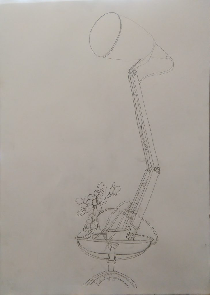 Anglepoise lamp still life drawing