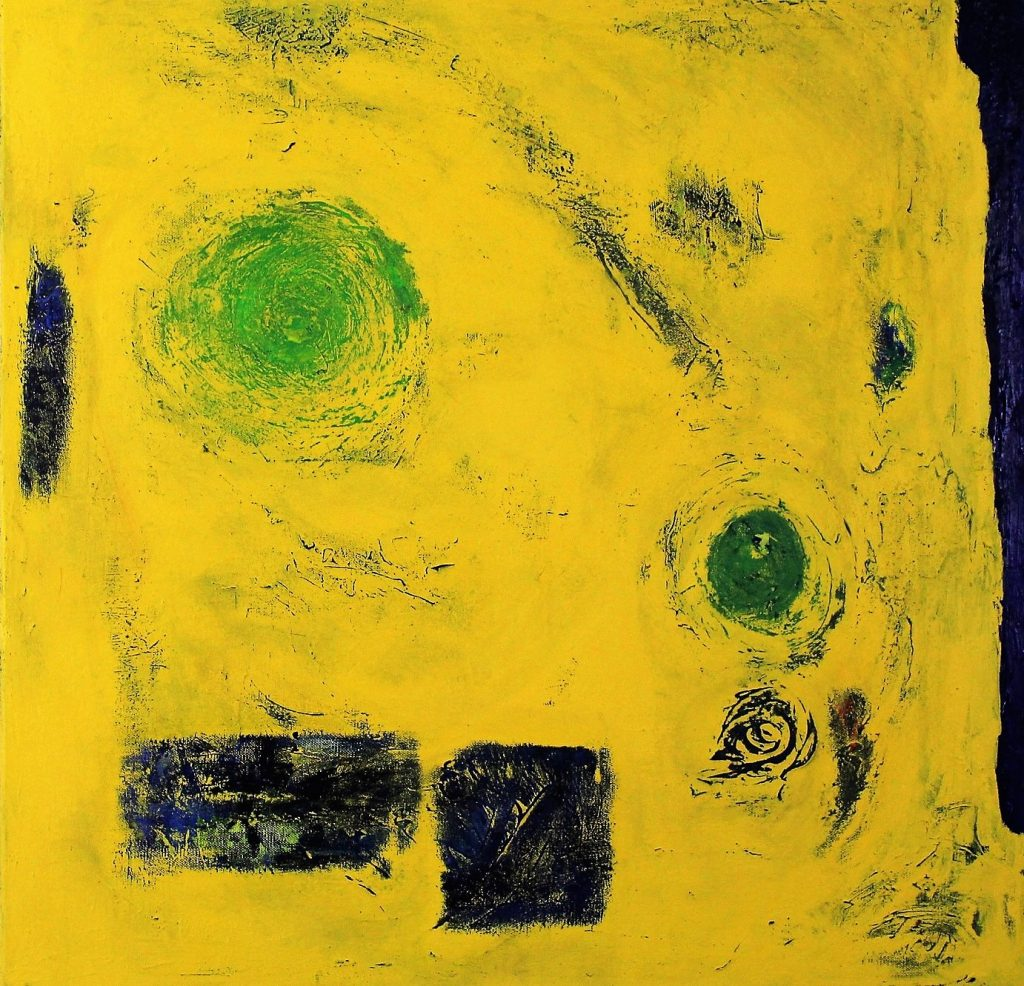IED Helmand, War Series yellow abstract type painting 70cm x 70cm Acrylic 2017 £600