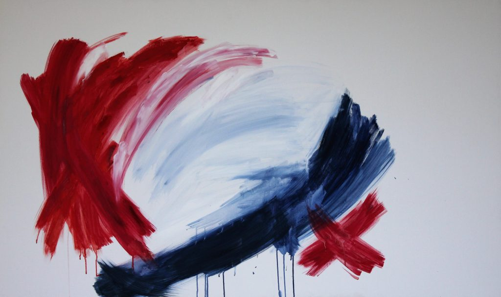 Red and blue large abstract painting Untitled on canvas 150cm x 90cm