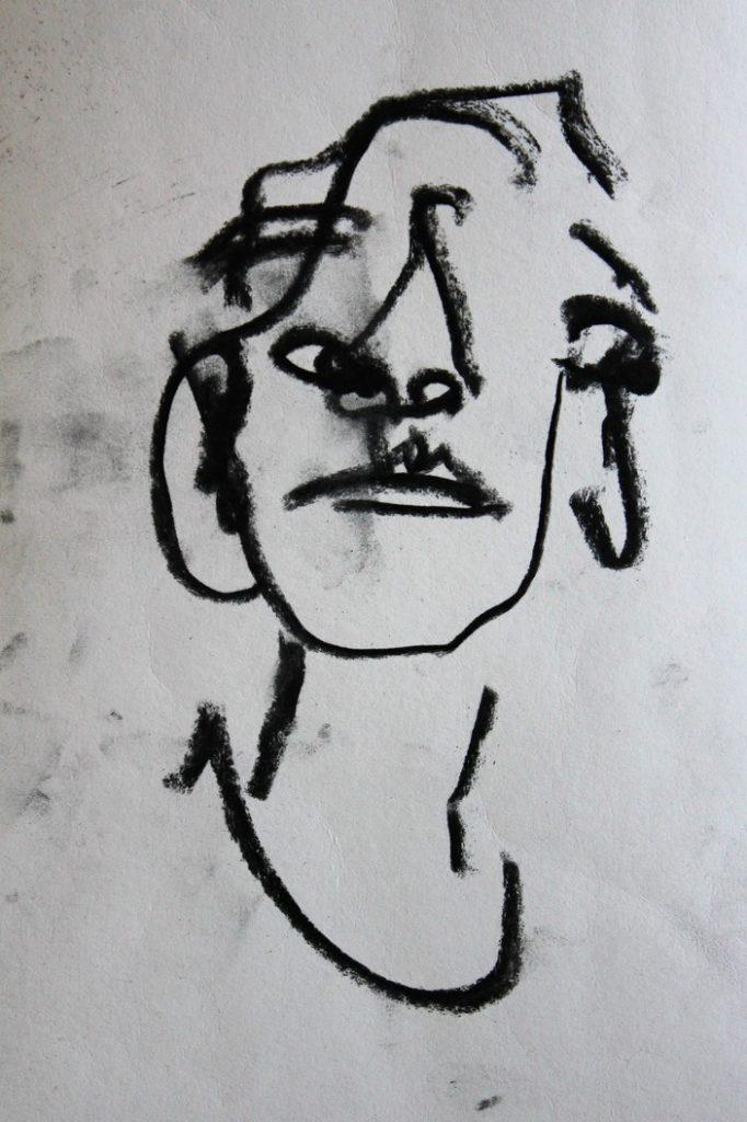 Self portrait, charcoal on paper, h 28cm w 17 cm, 2017 POA